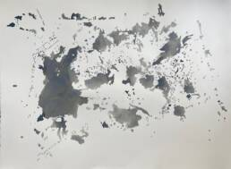 Puddle World I, a map-like drawing (rainwater and ink)
