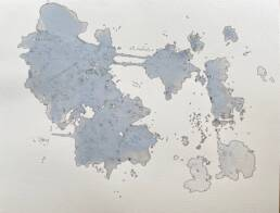 Puddle World V, a map-like drawing (rainwater and ink)